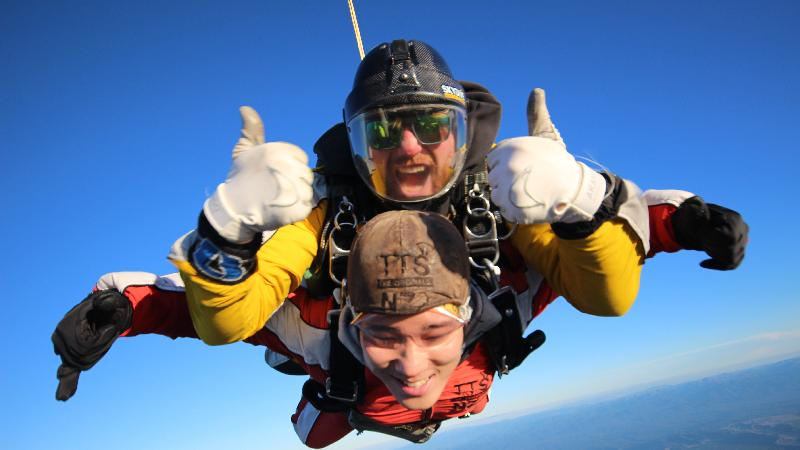 Big thumbs up over Lake Taupo