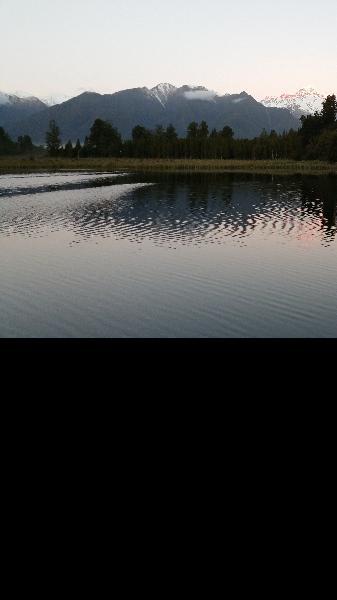 Glacial reflections and sunset at Lake Matheson